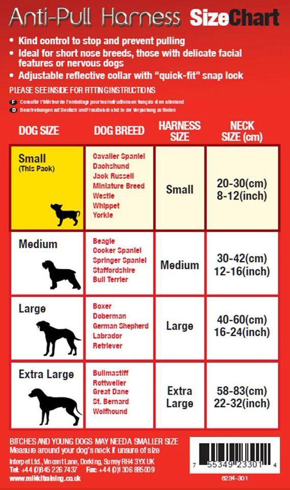 Mikki Harness Size Chart